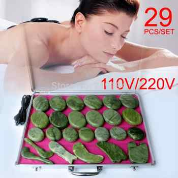 Best selling! 29pcs/set body Massage stones massage stone set hot stone jade massage plate with heater box - SALE ITEM - Category 🛒 Beauty & Health