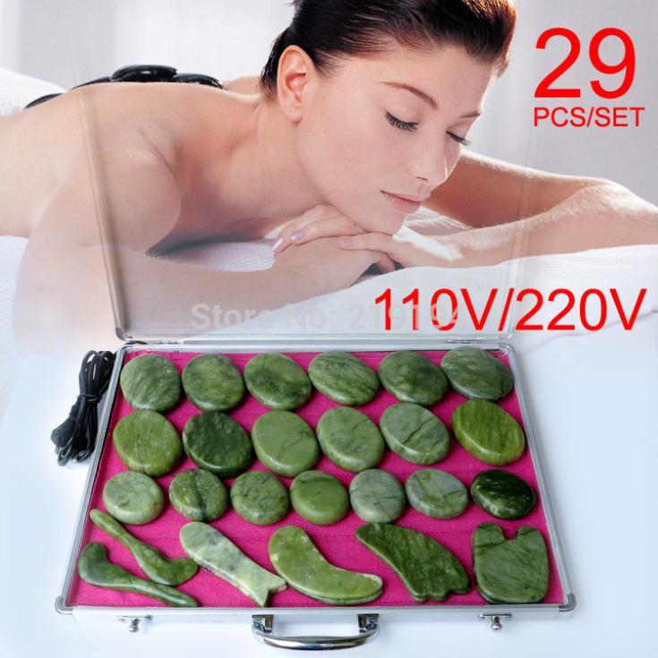 Meilleure vente! 29 pièces/ensemble pierres de Massage du corps pierre de massage ensemble pierre chaude jade plaque de massage avec boîte de chauffage