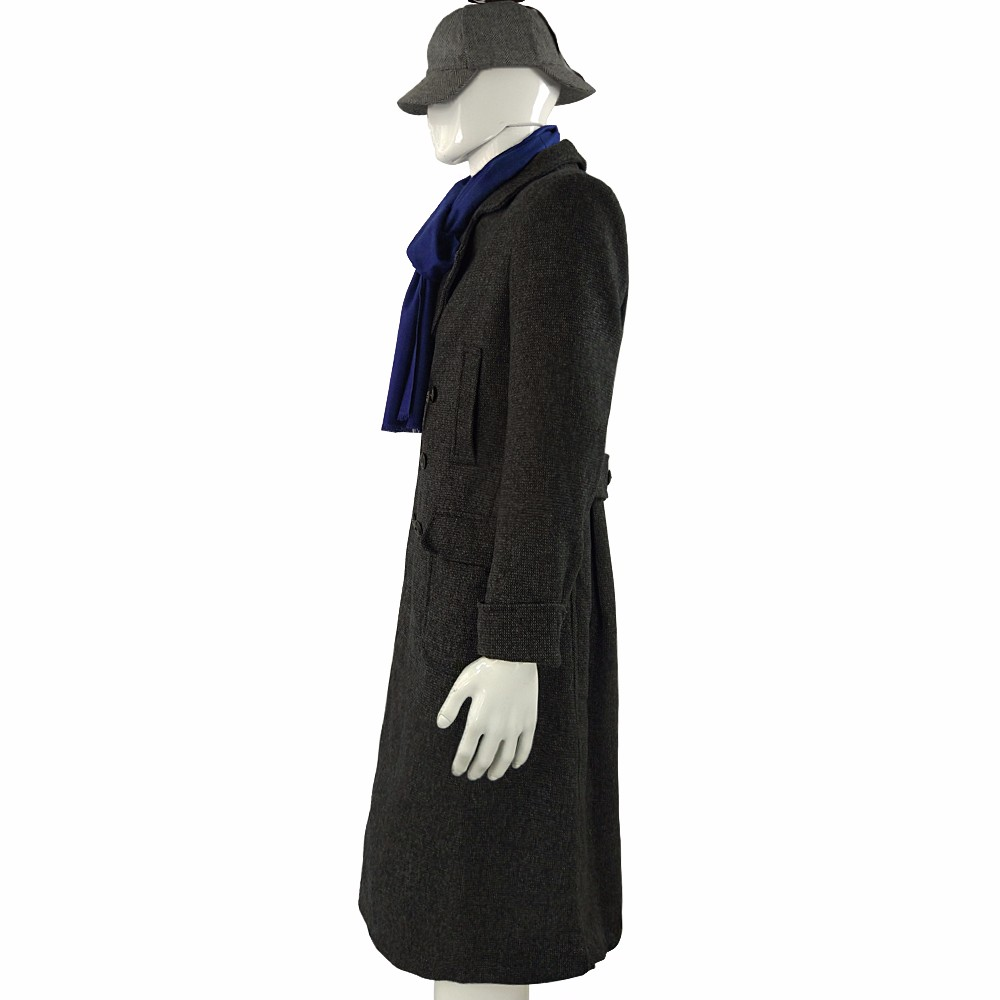 Sherlock Holmes Cape Coat Costume Cosplay Jacket Wool Christmas Gift With Scarf6