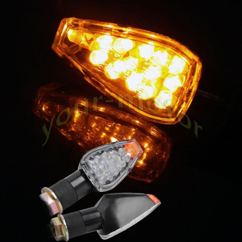 2x Universal Motorcycle Turn Signal Light 14 LED Indicator Blinker Flasher For Honda Yamaha Suzuki Aprilia