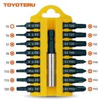 Toyoteru насадки для отвертки Магнитный 17 шт S2 бит Phillips (0-1-2-3), T5, Torx биты безопасности (T6-6-7-8-9-10-15-20-25-27-30--T40)