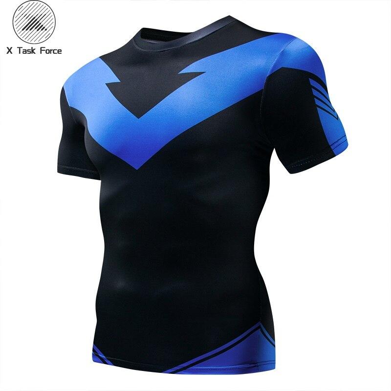 2018 moda unissex t-camisa 3d impressão nightwing compressão dos homens/mulheres t camisa de manga curta verão masculino topos t x task force