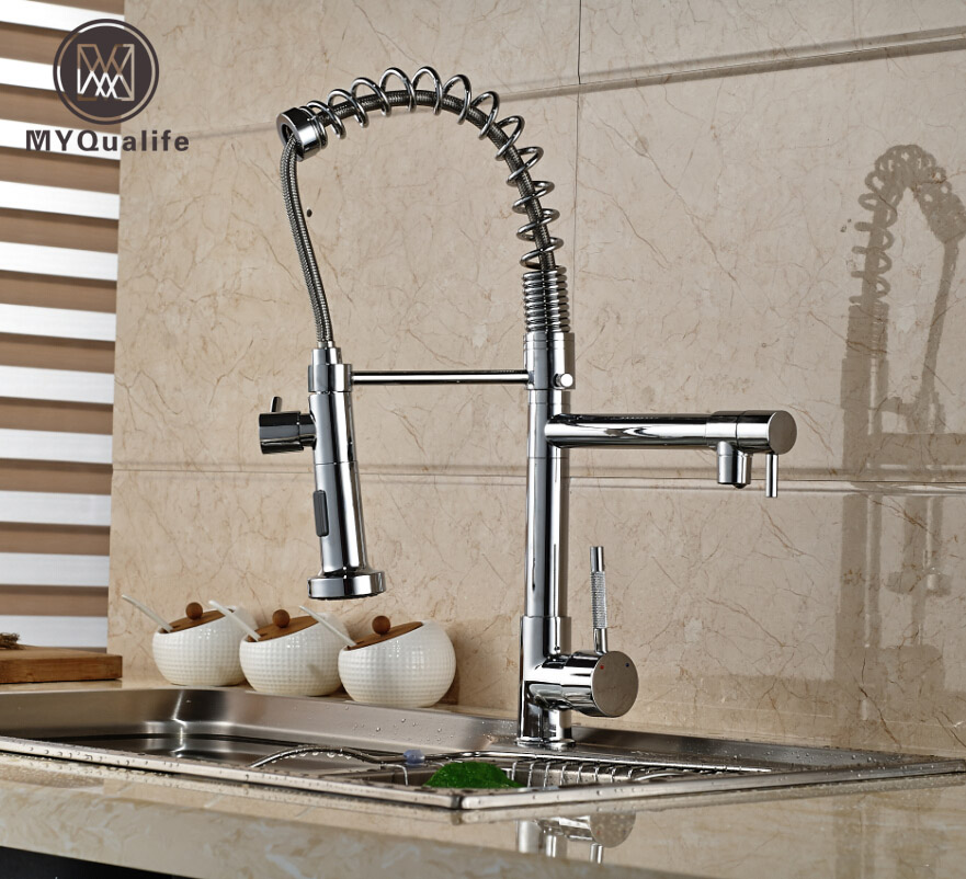 Modern Spring Kitchen Faucet Dual Swivel Spout Vessel Bar Vanity Sink Mixer Tap Chrome Finished chrome finished pull out spring kitchen faucet deck mount swivel spout vessel sink mixer tap dual sprayer