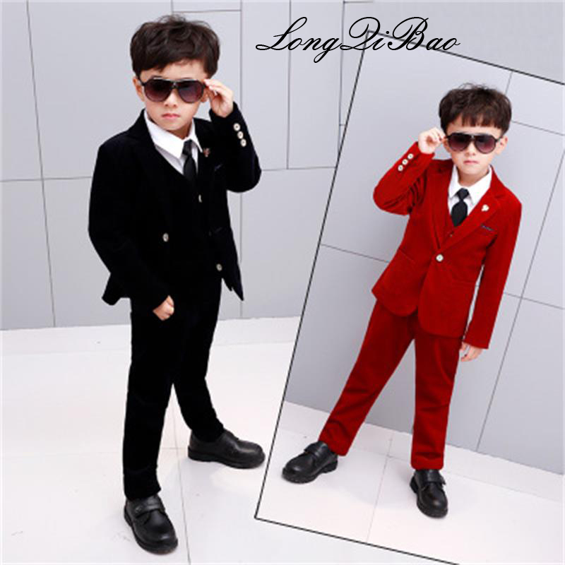 2018 Spring and Autumn Children's Wear New Boys Small Suit Set Corduroy Children's Dress Four-piece Set corduroy overall dress