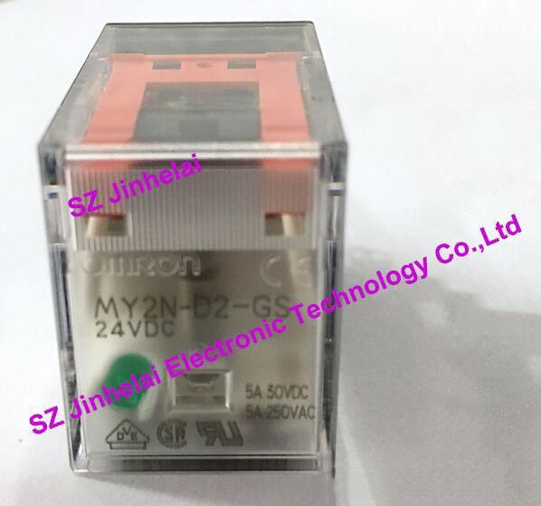 все цены на  100%New and original MY2N-D2-GS OMRON  Intermediate relay 24VDC,  2NO 2NC 5A 8pin (alternative MY2N-D2-J)  онлайн