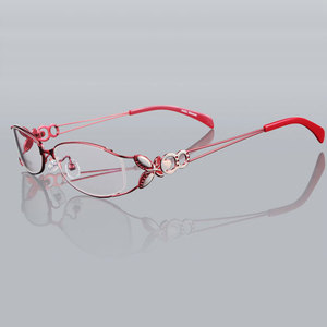 Image 4 - 蝶合金エレガントな女性メガネフレームの女性ヴィンテージ光学ガラス平野アイボックス眼鏡フレーム近視メガネ