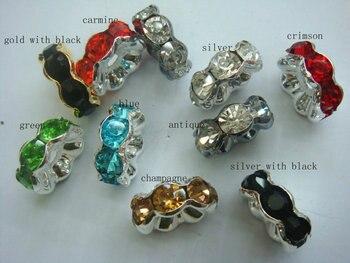 500pcs 4-12mm Top Quality Rainbow rhinestone rondelle wavy spacer beads