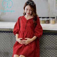 A908# Summer Fashion Elegant Maternity Blouses A Line Loose Cotton Shirts Clothes for Pregnant Women Sexy V Neck Pregnancy Tops