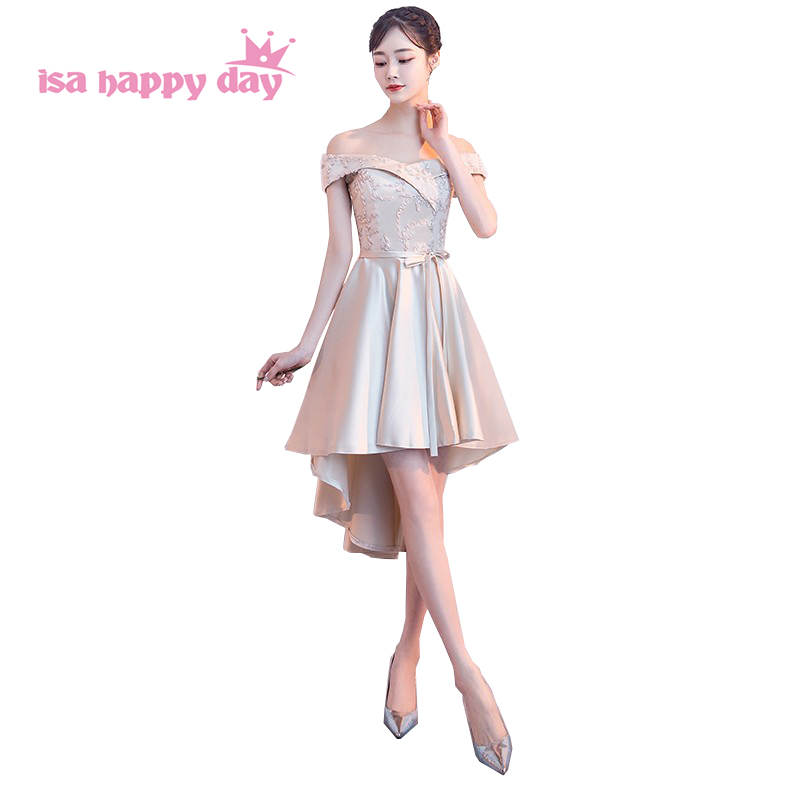 New 2019 Boat Neck Shoulder Bridesmaid Dress Elegant Bride