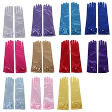 Kids Long Gloves Bow Knot Girls Prom Finger Satin Elbow Costume Princess Sleeves