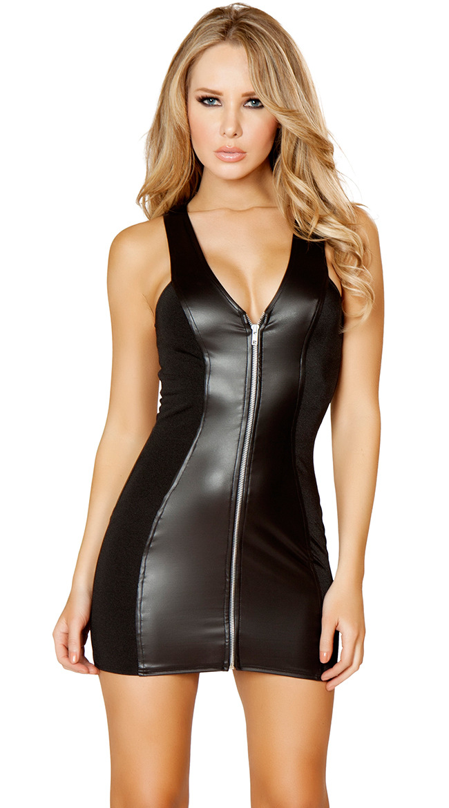 Women Sexy Cut Out Black V Neck Dress Pu Faux Leather