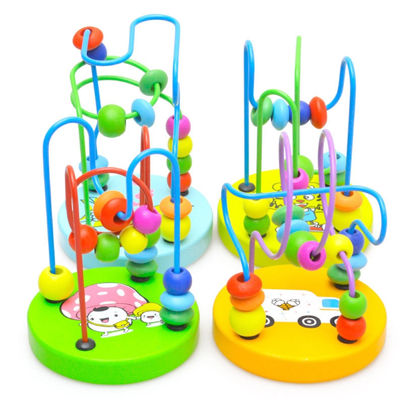Kids Wooden Round Beads Puzzle Toy Children Colorful Mini Around Beads Maze Roller Coaster Play Game Toys Baby Educational Toys