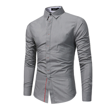 2017 New Clothing Men Long Sleeve Casual Shirts Camisa Slim Fit Patchwork Collar Masculina Social Chemise Homme Mens Shirt