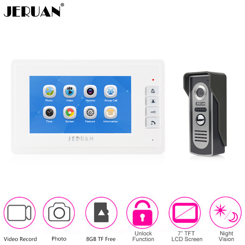 JERUAN Wired Home 7 Inch Color Screen Vdeo Door Phone Record Intercom Entry System Doorbell IR Camera English/Russian Language