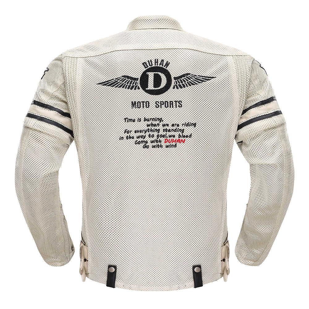 جاكت لركوب الدراجات النارية من DUHAN صيفي يسمح بالتهوية للرجال جاكت لركوب الدراجات النارية مع حامي يمكن إزالته