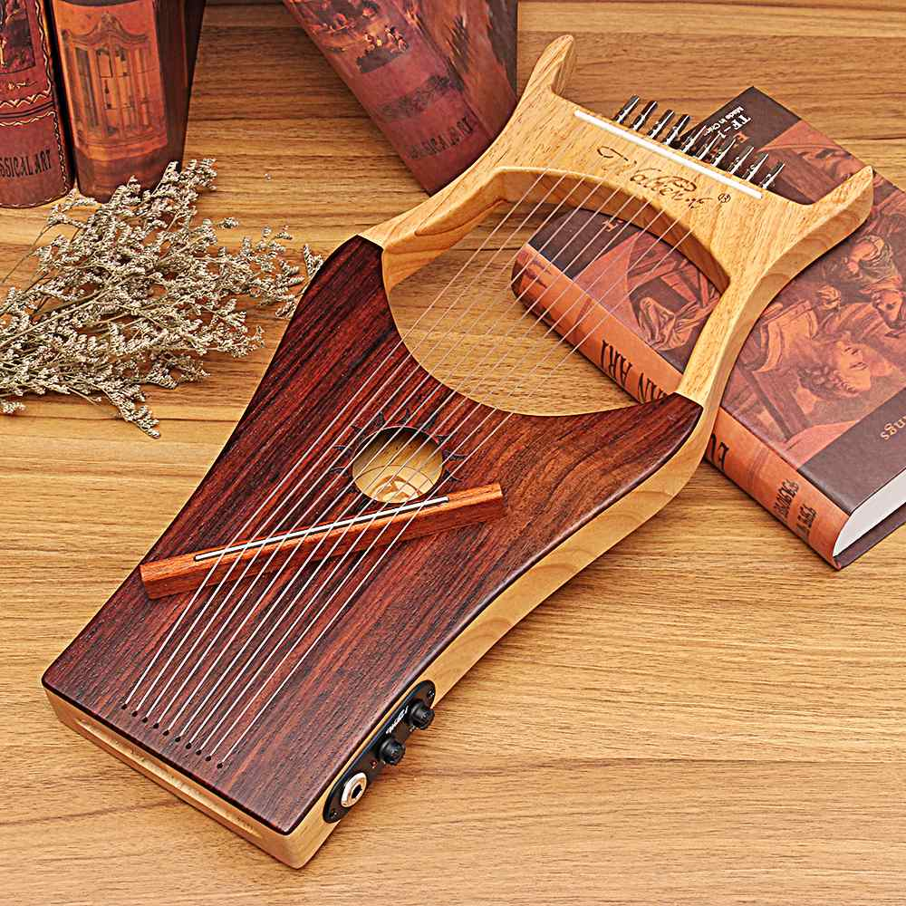 2019 Newest Style WH-01EQ Lyre 10 String Wooden Color Harp Antiquity Chinese Style Professional Concert Stringed Instruments