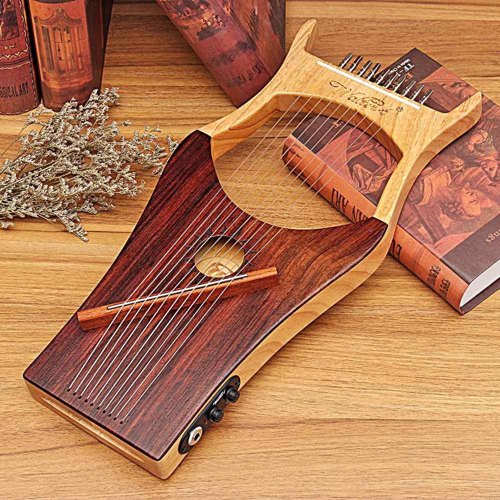 2019 neueste Stil WH 01EQ Leier 10 String Holz Farbe Harfe Der Antike Chinesische Stil Professionelle Konzert Saiten Instrumente