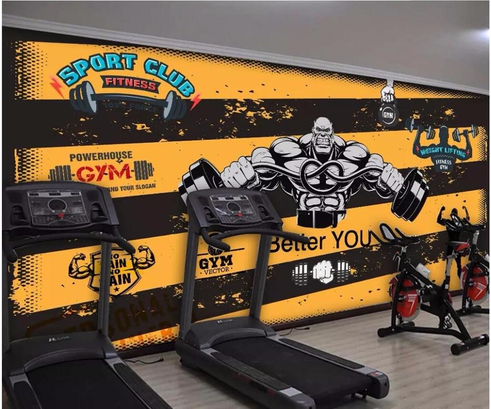 Custom Mural 3d Photo Wallpaper Retro Cartoon Fitness Character Lifting Weights Home Decor Living Room Wallpaper For Walls 3 D