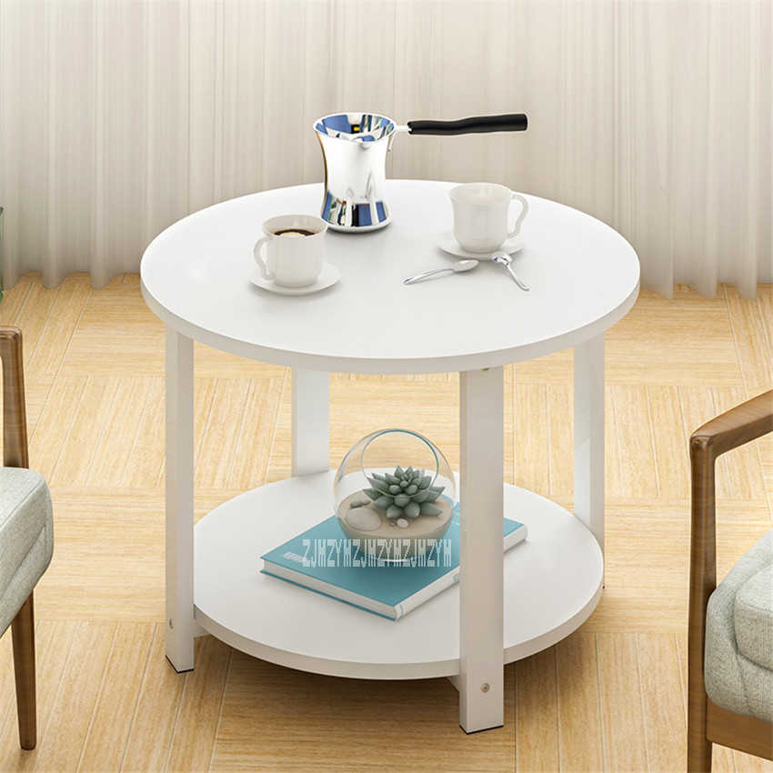 H15 Modern Concise Small Round Table Bedroom Coffee Table Living Room End Table Anti-Skid Mini Side Table Steel Pipe Leg Teapoy