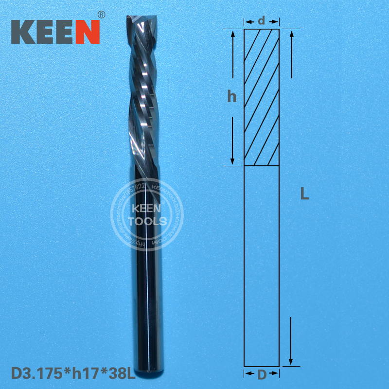 3 175 17mm Double Flute End Milling Cutter CNC Spiral Router Bit Set Tungsten Carbide CNC