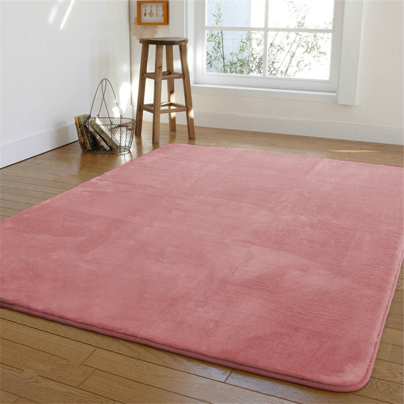 Free shipping High end 120 x200cm Coral fleece bedroom carpet bed non slip blanket floor mat short hair rugs easy to care