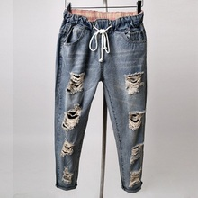 Boyfriend Hole Plus Size Jeans Woman 2017 Elastic Waist Ripped Torn Trousers Female Harem Denim Pants Blue Jeans Femme XXXL 4XL