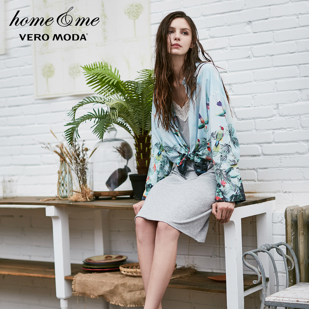 Vero Moda 2019 Print Drop-shoulder Loose Fit Shirt Pajamas | 317405504