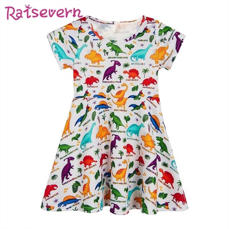 Funny Dinosaur Printing Teens Girls Dress Coco Printed Princess Short Sleeve Party Flower Dress Cute Kids Casual Beach Dresses colorful waterdrop flower printed round beach throw