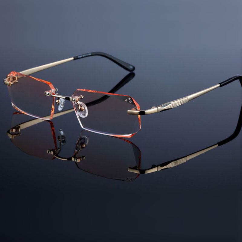 Fashion Eyeglasses Diamond Trimming Cutting Rimless Eyeglasses Prescription Optical Glasses Frame For Men Eyewear