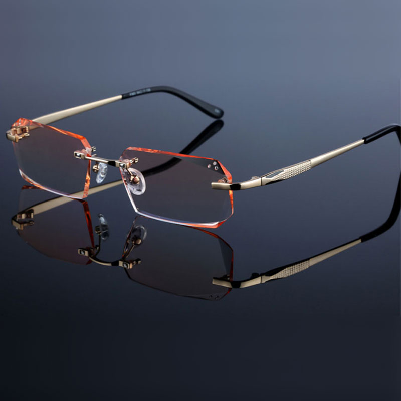 Fashion Eyeglasses Diamond Trimming Cutting Rimless Eyeglasses Prescription Optical Glasses Frame For Men Eyewear