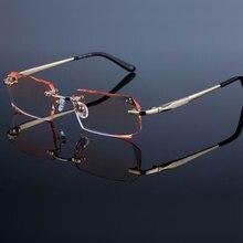 Mode Brillen Diamant Trimmen Snijden Randloze Brillen Recept Optische Glazen Frame voor Mannen Brillen