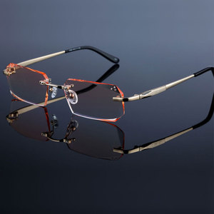 Image 1 - Occhiali di modo Diamante Guarnizioni di Taglio Senza Montatura Occhiali Da Vista Ottica Occhiali Cornice per Gli Uomini Occhiali