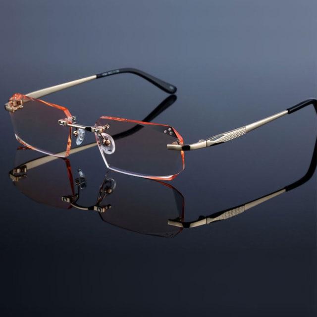 Occhiali di modo Diamante Guarnizioni di Taglio Senza Montatura Occhiali Da Vista Ottica Occhiali Cornice per Gli Uomini Occhiali