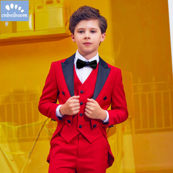 2019 Nimble Red Suit For Boy Solid Boys Suits Weddings Boys Blazer Costume baby Garcon Mariage Terno Tuxedo children clothes set model baju bayi 3 bulan laki laki