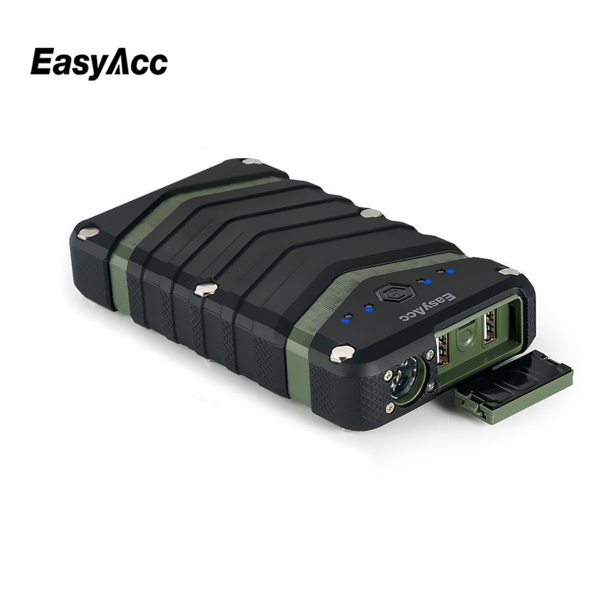20000mAh Power Bank 2 USB port 18650 External Battery Charger with Flashlight Waterproof Shockproof for iPhone