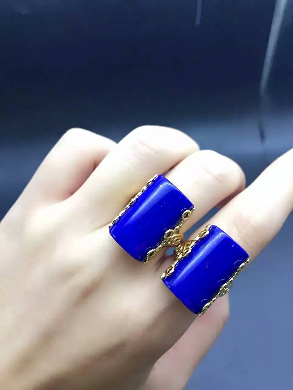 Natural blue lapis lazuli gem Ring Natural gemstone ring 925 sterling silver fashion big Luxury squares women men party Jewelry