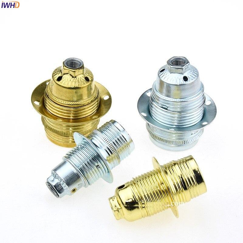 IWHD Aluminum Douille E27 Socket Bulb Holder For Pendant Light Retro Soquete Fitting E14 E27 Lamp Holder Base Lampholder