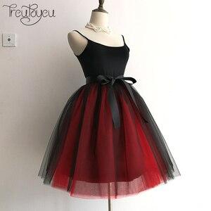 Image 2 - Gothic 6 Layers 65cm Mix Colors Tutu Tulle Skirt Women Streetwear High Waist Pleated Midi Skirts spudniczki jupe rokken faldas