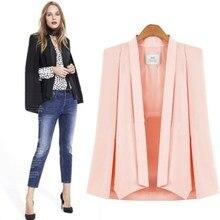 Женский блейзер, офисное Женское пальто, одноцветное, длинный рукав, с отворотом, накидка, пончо, женская элегантная куртка, Женский деловой костюм, Блейзер, feminino