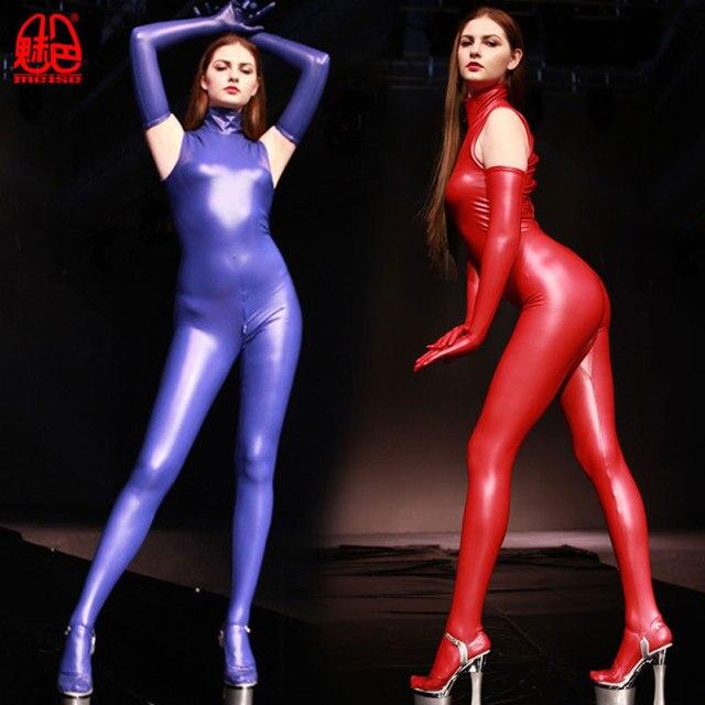 セクシーな女性ラテックス光沢のあるフルボディレオタードスーツ双方向ジッパーオープンクロッチキャットスーツセクシーランジェリーモトバイカークラブグローブで着用プラスサイズ