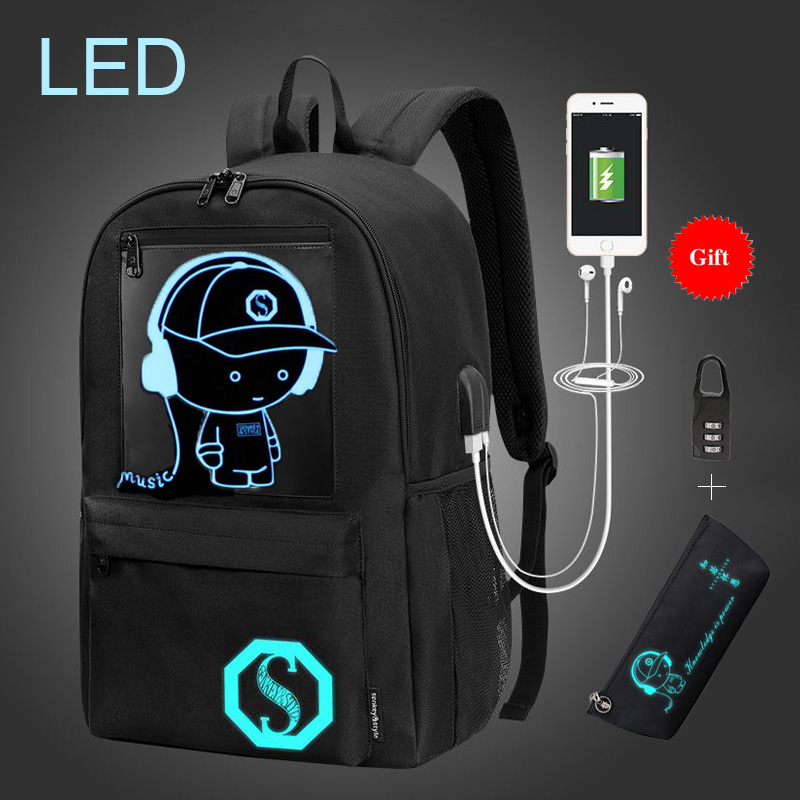 246027f04939 US $27.94 45% OFF|High Quality LED Backpacks For Teenage Boys Backpack  School Bag Kids Baby Bags Oxford Fashion School Bags mochila infantil-in  School ...