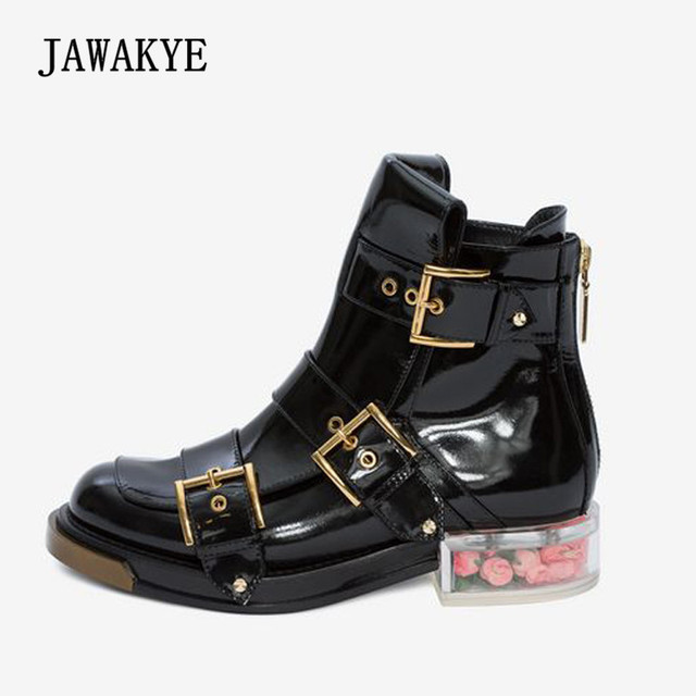 2018 Flower Studded Ankle Boots Woman Round Toe Gold Silver Rivet  Transparent Clear Crystal Heel Boots Woman Sweet Martin Boots d5b35abaf4a0