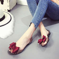 2017 summer crystal jelly shoes female sweet open toe flat heel casual beach sandals flats.jpg 250x250