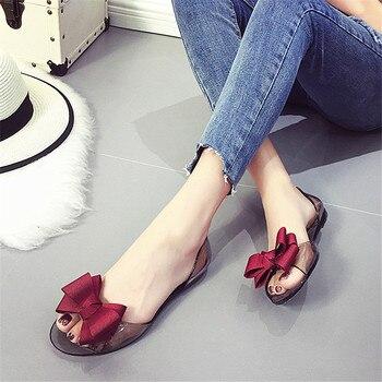 2017 summer crystal jelly shoes female sweet open toe flat heel casual beach sandals flats.jpg 350x350