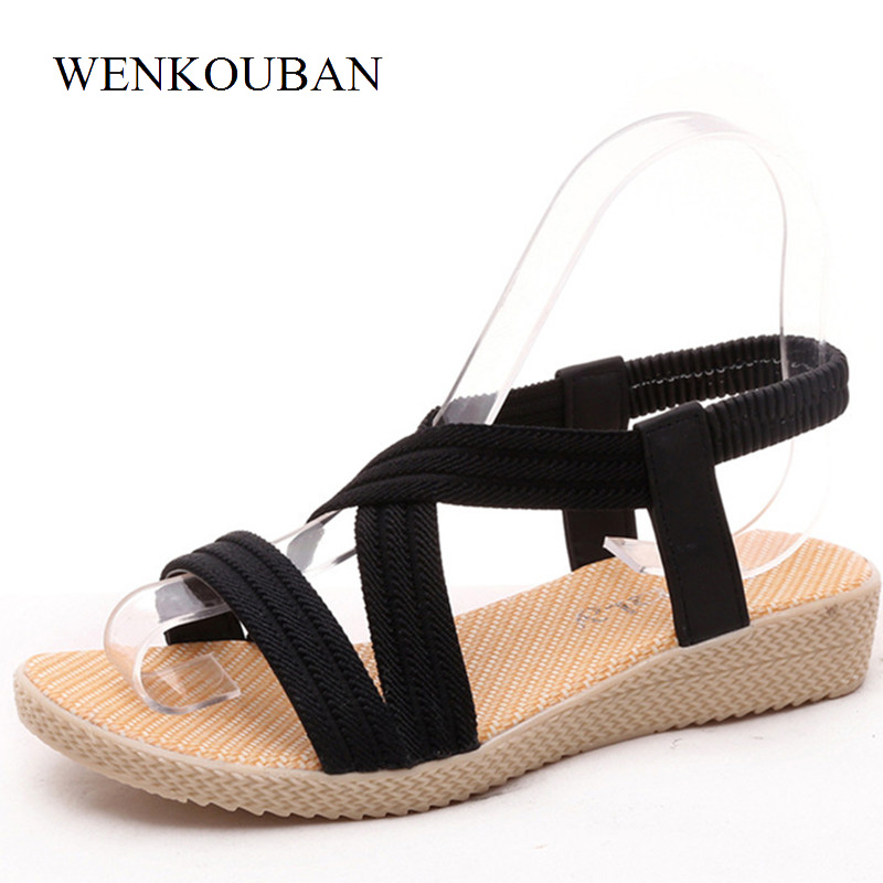 Women Gladiator Sandals Ladies Elastic Band Flat Shoes Summer Casual Sandalias Black Red Shoes Chaussure Femme Plus Size 35-41 summer high quality women flats sandals plus size 34 43 new fashion casual ladies sandalias comfort mujer gladiator woman shoes
