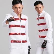 Стенд воротник мужские костюмы конструкции Белый Сценические костюмы для певцов мужчины блесток Блейзер Танцы одежда Стиль курток платье в стиле панк-рок