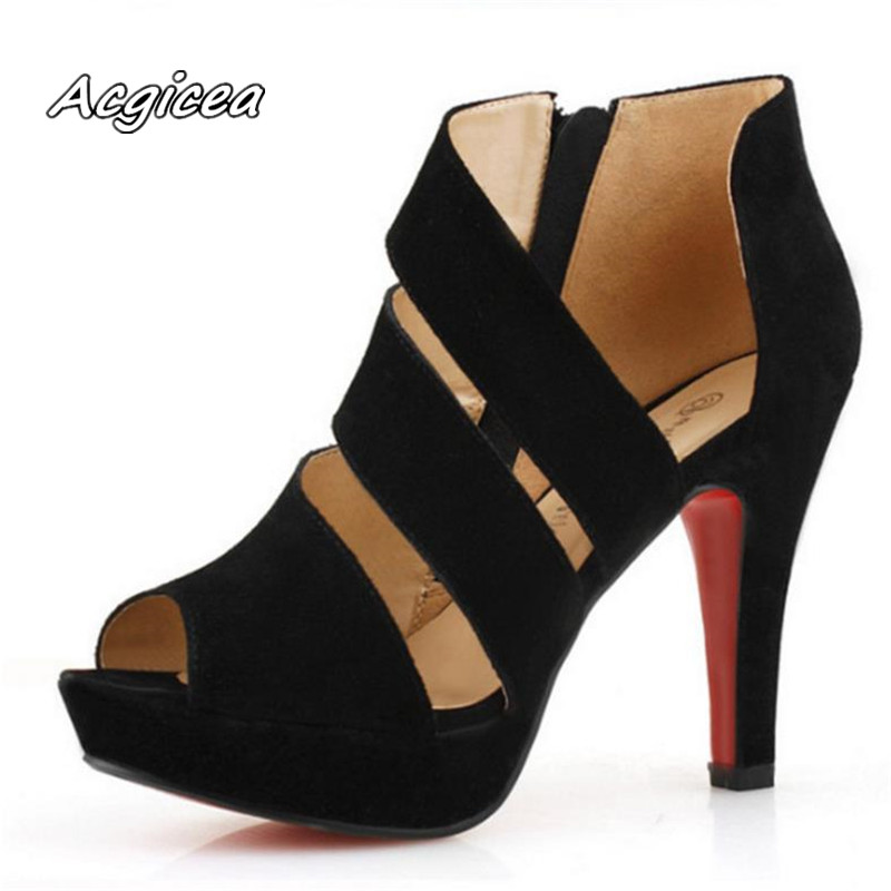 2019 Female Models Sexy Fish Mouth Shoes Ladies New Sandals Summer High Heels Waterproof Platform Roman Sandals S103