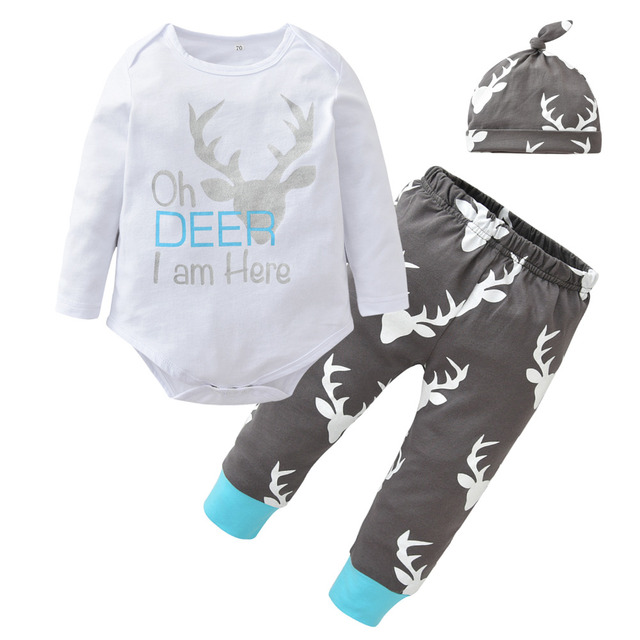 9abf24bd8 Newborn Baby Boys Girls Christmas Clothes Long Sleeve Deer Head Romper Tops  Casual Pants and Hat Infant 3pcs Outfits Clothes Set