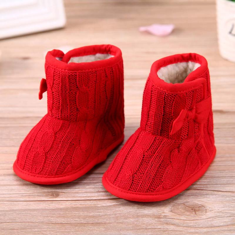 2017 Winter Warm Baby Crib Shoes Prewalker Boots Infant Toddler Boy Girls Non Slip Fleece Boots Knitted Wool Bow Soft Sole Shoes