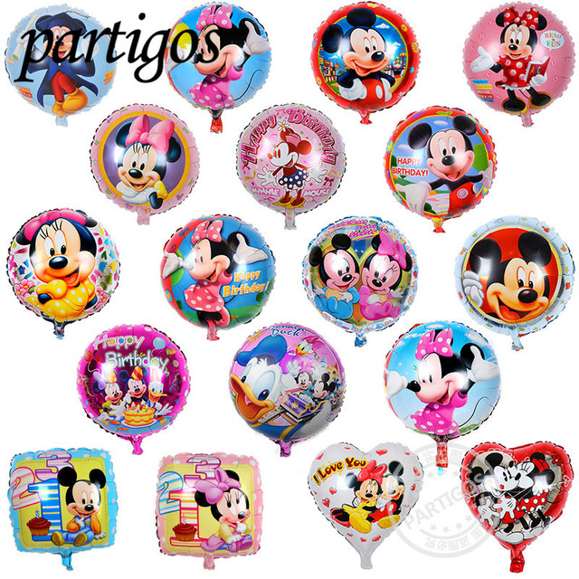 10pcs 18inch round Mickey Minnie mouse Foil Balloons Baby shower Birthday Party Wedding Decoration Kids Classic Toys Supplies